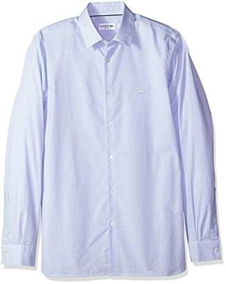 Lacoste Men's Long Sleeve Poplin Check Button Down Collar Slim Woven Shirt