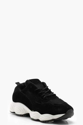 boohoo Faux Suede Trim Chunky Trainers