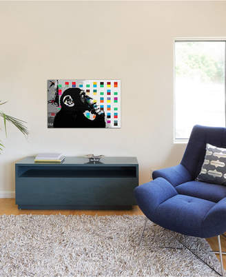 """iCanvas The Thinker Monkey Dots Close Up"""" by Banksy Gallery-Wrapped Canvas Print (18 x 26 x 0.75)"""