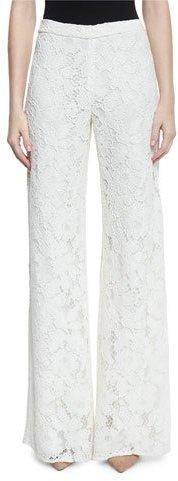 AlexisAlexis Rina Lace Side-Slit Wide-Leg Pants
