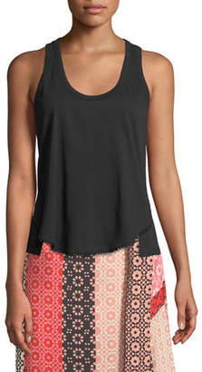 Derek Lam 10 Crosby Scoop-Neck Racerback Cotton Tank with Lace Trim