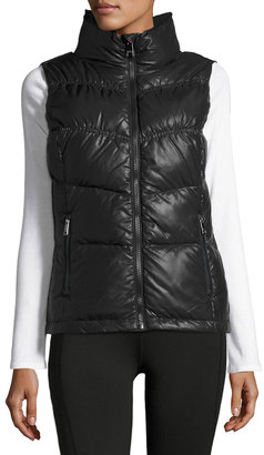 Marc NY Performance Puffy-Collar Chevron-Seamed Vest, Black $69 thestylecure.com