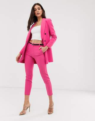 Stradivarius co ord belted tailored pants in hot pink