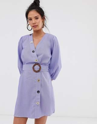 Moon River multi buttondown stripe dress