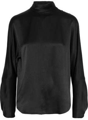 Vince Band Collar Silk-Satin Turtleneck Blouse