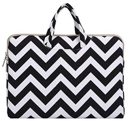 Mosiso Laptop Briefcase, Canvas Fabric Carry Case Sleeve Handbag for 11-11.6 Inch Acer Chromebook 11 / HP Stream 11 / Samsung Chromebook 2 / Notebook Computer / MacBook Air 11, Chevron Black