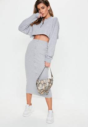 Missguided Gray Ribbed Button Front Split Midi Skirt