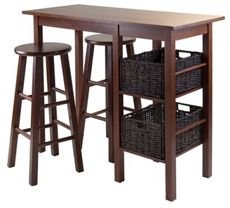 Winsome Wood Egan 5pc Table Set w/ Bar Stools and 2 Baskets