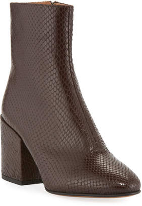 Dries Van Noten Snake-Embossed Leather Booties