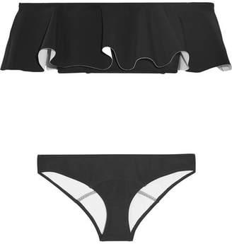 Lisa Marie Fernandez Mira Flounce Off-the-shoulder Bonded Bikini - Black
