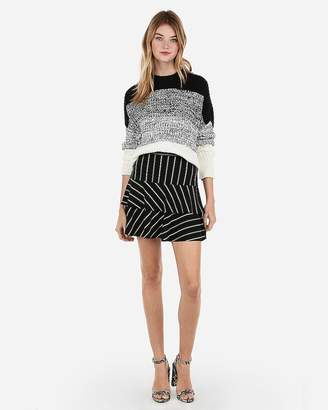Express Tiered Stripe Ruffle Mini Skirt