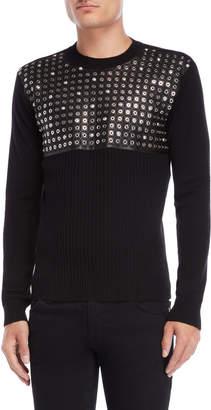 Versace Black Grommet Sweater