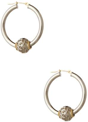 Candela 28mm 14K Yellow Gold & Sterling Silver Beaded Hoop Earrings