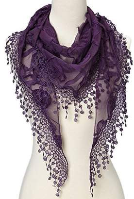 Cindy & Wendy Cindy and Wendy Lightweight Triangle Floral Fashion Lace Fringe Scarf Wrap for Women