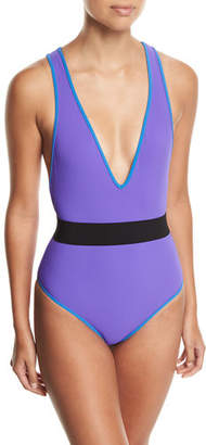 Diane von Furstenberg Deep V Belted One-Piece Swimsuit