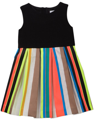 Milly Minis Fluo Stripe Pleated Dress (Toddler & Little Girls) $225 thestylecure.com