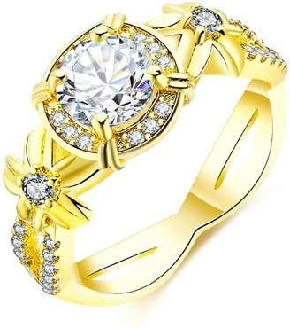 Aokarry Wedding Ring, Plated Flower Shaped Enternity Engagement Wedding Bands for Womens Size 8