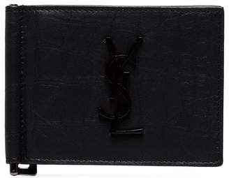 Saint Laurent black leather money clip wallet