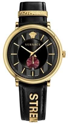 Versace Manifesto - Strength Leather Strap Watch, 42mm