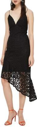 Topshop Lace Plunge Asymmetrical Dress