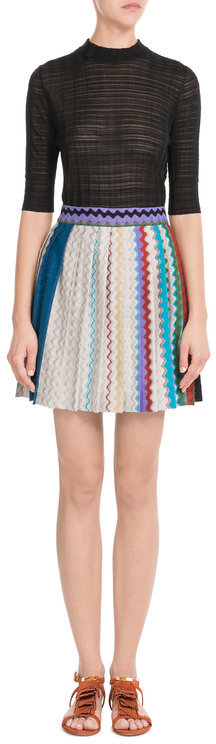 Missoni Missoni Flared Crochet Knit Skirt