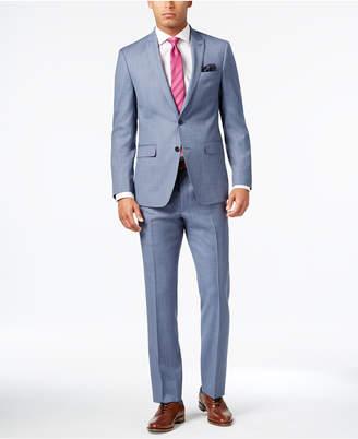 Tallia Men's Slim-Fit Light Blue Sharkskin Suit $650 thestylecure.com