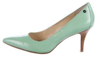 Calvin Klein Embossed Leather Pointed-Toe Pumps