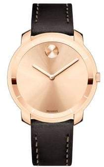 Movado Mid-Size Bold Crystal Leather-Strap Watch