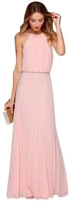 YipGrace Women's Halter Neck Chiffon Sleeveless Maxi Dress XL