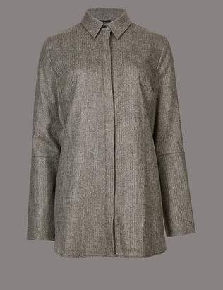 Marks and Spencer Split Cuff Long Sleeve Tweed Shirt