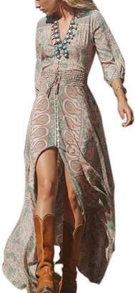 Suvotimo Women's 3/4 Sleeve Deep V Neck Slit Retro Print Plus Size Maxi Dress 3XL