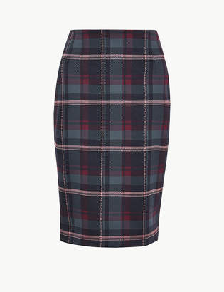 Marks and Spencer Jersey Checked Pencil Skirt