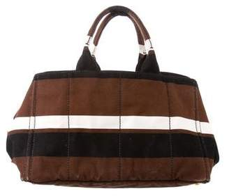 Prada Striped Canapa Tote