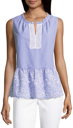 Liz Claiborne Sleeveless Embroidered Ruffle Hem Top
