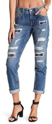 Miss Me Torn Plaid Patch Boyfriend Ankle Jeans