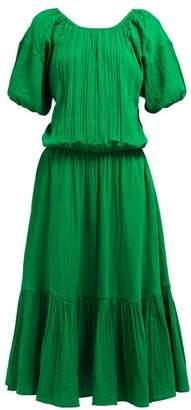 Rhode Resort Frida Puffed Sleeve Tiered Cotton Dress - Womens - Green