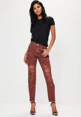 Missguided Brown High Rise Extreme Ripped Mom Jeans