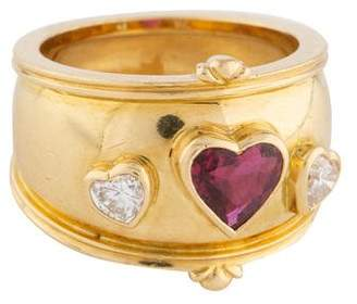 Theo Fennell 18K Ruby & Diamond Heart Ring