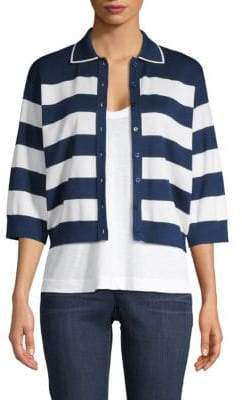 Dolce & Gabbana Stripe Silk-Knit Cropped Cardigan