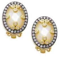 Freida Rothman Mirror Mirror Sterling Silver & Mother-Of-Pearl Clip Earrings