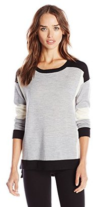Design History Women's Merino Wool Colorblock Sweater $128 thestylecure.com