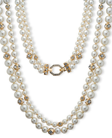 Anne Klein Anne Klein 8MM, 10MM, 12MM Faux Pearl Two-Row Collar Necklace