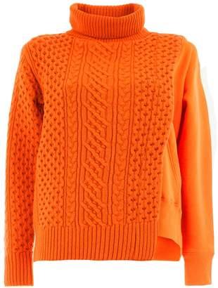 Sacai cable-knit panel sweatshirt