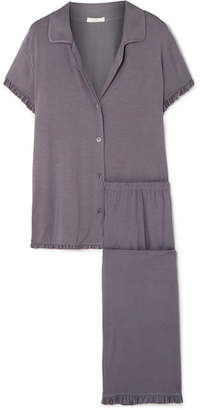 Eberjey Ruthie Ruffled Stretch-modal Jersey Pajama Set - Dark gray