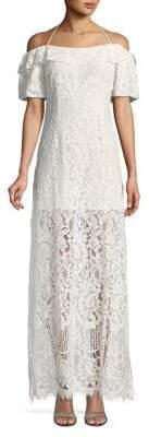 WAYF Halter Off-Shoulder Lace Maxi Dress