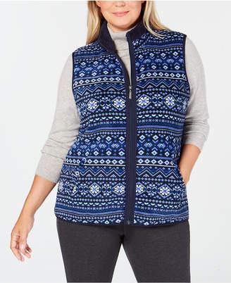 Karen Scott Plus Size Fair-Isle Stand-Collar Vest