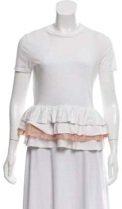 Miu Miu Ruffle-Trimmed T-Shirt