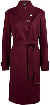 Dorothy Perkins Womens Burgundy Button Wrap Coat
