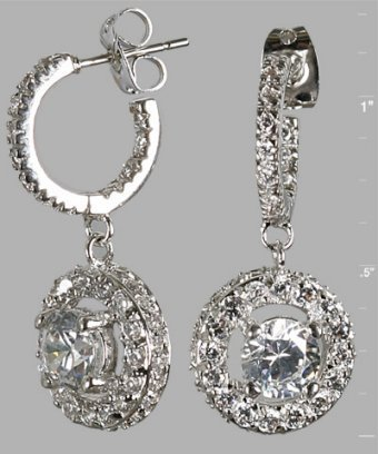 Jardin silver CZ pavé drop hoop earrings