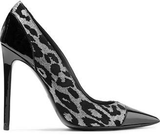 Balmain Daphne Duo Flocked Textured-lamé And Patent-leather Pumps - Leopard print